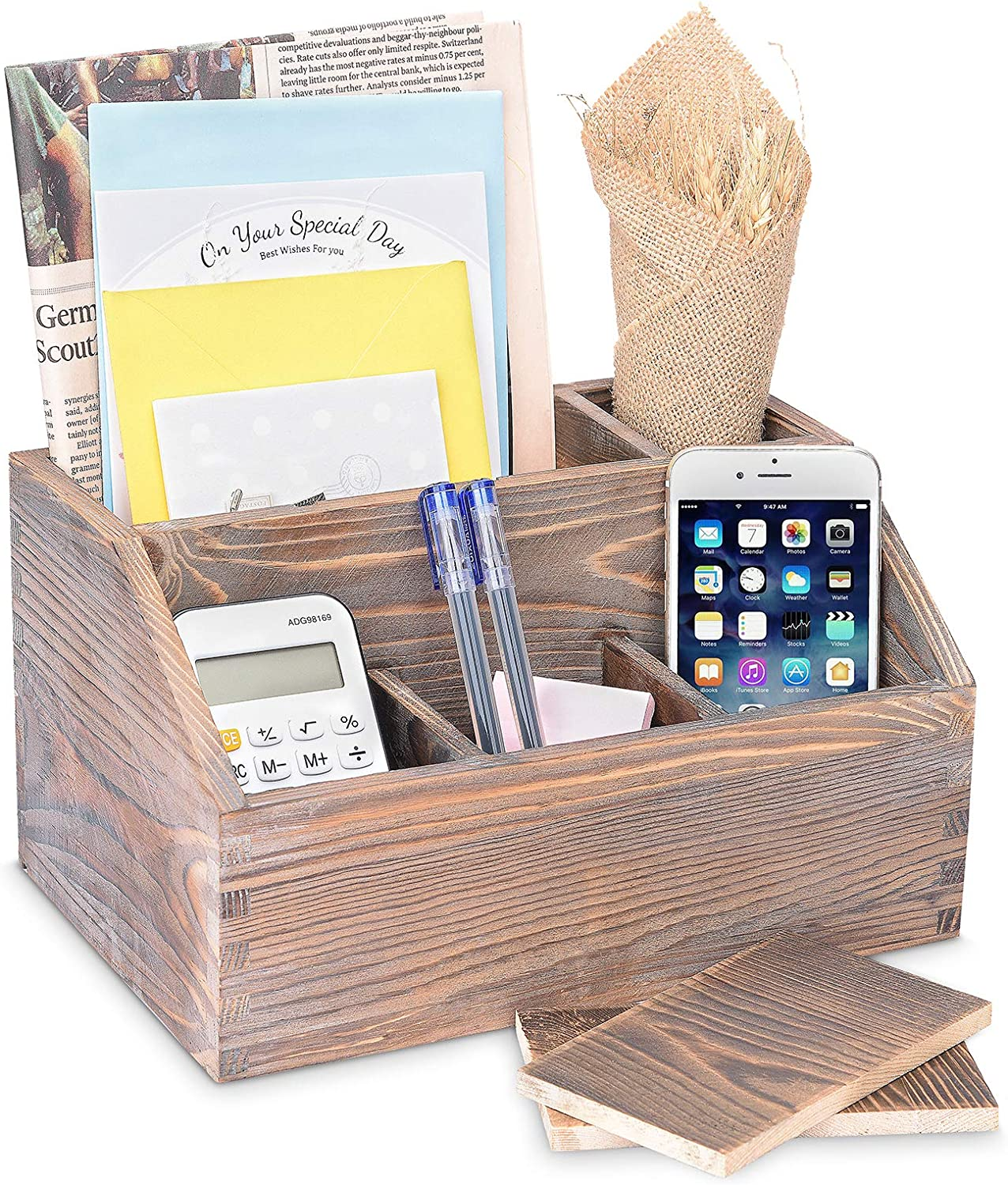 Rustic Wood Mail Sorter Letters and Newspapers Mail Holder with 5 Adjustable Dividers Countertop Organizer for Pens