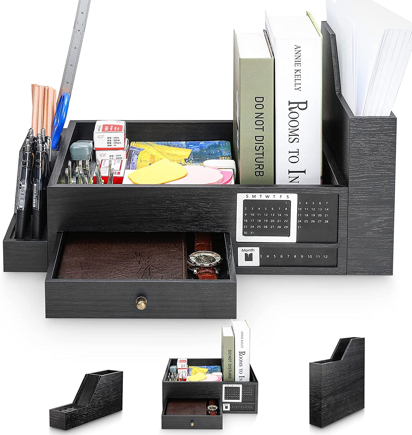 Homde 3 IN Don't miss the campaign 1 Wood Desk Organizer Including Holder Attention brand Organ Pen File