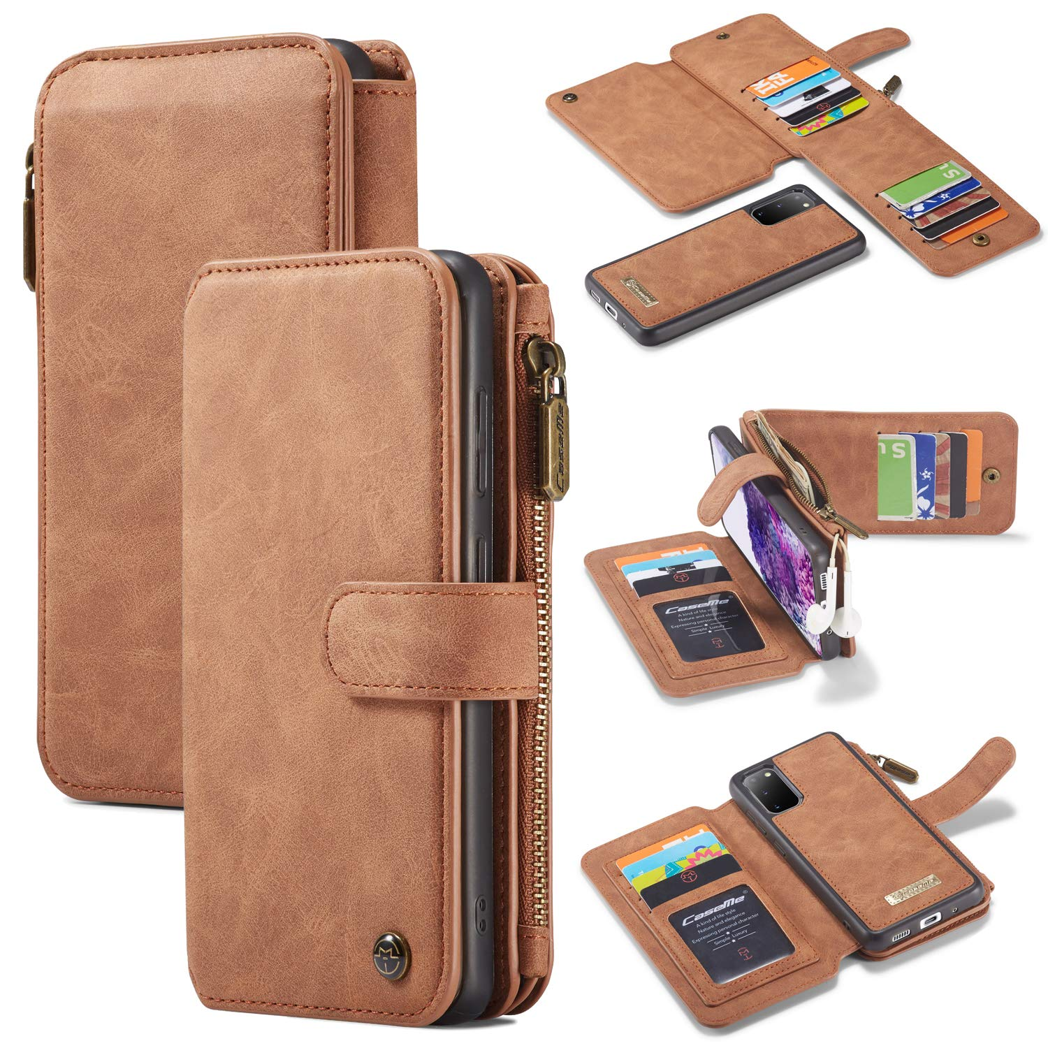 BeyeX Samsung Galaxy S8 Flip Case Leather Cover Extra-Protective Business Cell Phone case Kickstand Card Holders Fourteen Card Slot Anti Fall Zipper Bag Detachable Detachable Brown