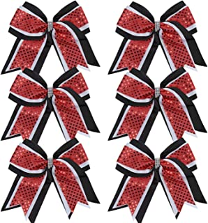 Cheerleader Bows 8 Inch 3 Layers 6 Pcs Ponytail Holder Jumbo Cheerleading Bows Hair Elastic Hair Tie for High School College (Black/White/Red)