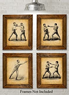 Original Boxing Art Prints - Set of Four Photos (8x10) Unframed - Great Gift Under $20 for Boxers Or Man Cave/Bar Decor Under $20