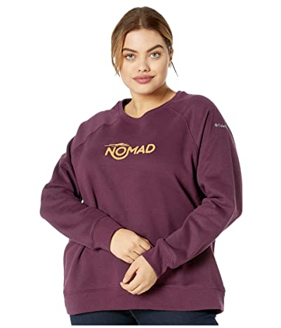 Columbia Plus Size Hart Mountaintm Graphic Crew (Black Cherry/Nomad) Women