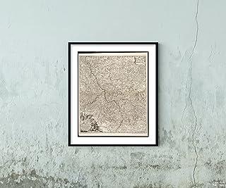 New York Map Company (TM) 1688 地図 ドイツ語 北ライン ウエストファリア ドイツ語 ラインランド パラチナート サーキュラス エレクトリウム レニ ソロ 歴史的 アンティーク ヴィンテージ リプリント フレーム対応