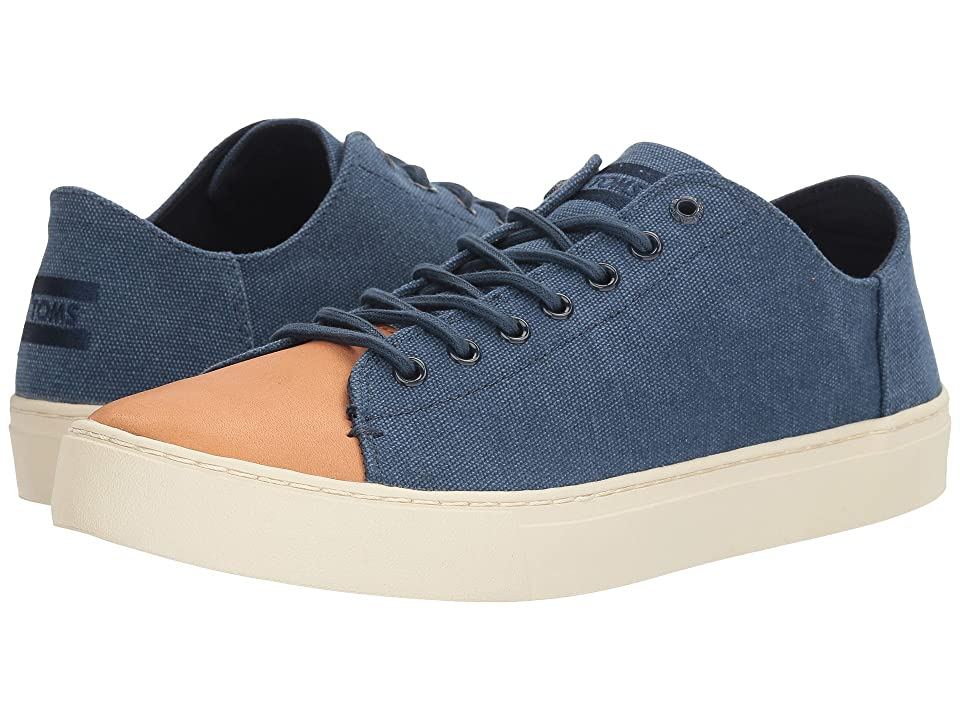 TOMS Lenox Sneaker (Navy Washed Canvas/Leather) Men
