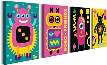 murando Pintura por Números para Niños 4 Motivos Robot 44x16.5 cm Cuadros de Colorear por Números Kit para Pintar en Lienzo con Marco DIY Bricolaje para Niños de 7 a 9 Años Decoracion n-A-0136-d-i