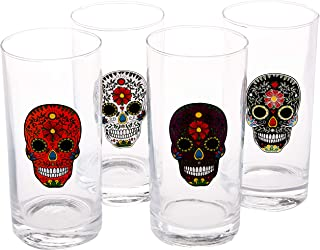 Circleware 77083 Sugar Skull Drinking Glasses, Set of 4, Heavy Base Juice Tumbler Ice Tea Cups, Home Entertainment Glassware for Water, Beer & All Beverages, 14.5 oz, Black, White, Purple and Orange