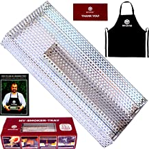 MYCRITEE Maze Pellet Smoker Tray 8 x 3.5 inch   5 Hours of Billowing Cold Smoke for All Grills or Smokers   Apron + 3 eBooks for Grilling and Smoking Recipes   Ideal for Smoking Cheese, Fish, Pork