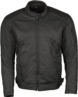 M-Boss Motorcycle Apparel-BOS11701-BLACK-Men's Nylon Racer Jacket W/Mesh Panel-BLACK-XL