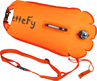 Wuiru Swim Buoy - Swim Safety Float for Open Water Swimmers, Floating Drybag Triathletes, Kayaks, Snorkelers and Spearfishing, Floats for Safe Swims Highly Visible Buoy. It Comes with a Whistle. 28L