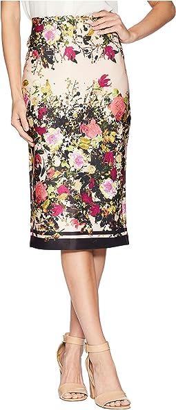 Floral Print Obsessed Midi Scuba Skirt