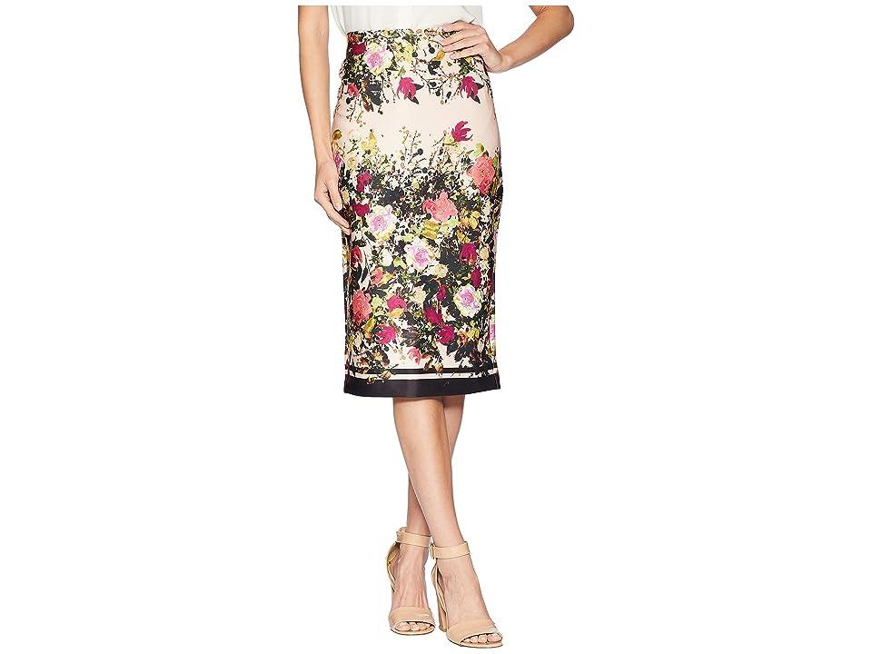 eci Floral Print Obsessed Midi Scuba Skirt (Ivory/Pink) Women