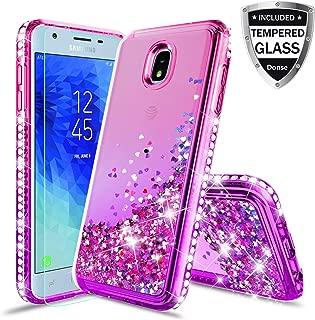 Compatible Samsung Galaxy J3 2018,J3V 3rd Gen,Express Prime 3,J3 Star,J3 Achieve,Amp Prime 3 Case w/Glass Screen Protector,Glitter Liquid Quicksand Diamond Luxury Cover for Girls Women (Purple/Pink)