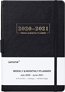 "2020-2021 Planner - Weekly, Monthly and Year Planner with Pen Loop, to Achieve Your Goals & Improve Productivity, July 2020 - June 2021, Thick Paper, Inner Pocket, 5.75"" x 8.25"", Black"