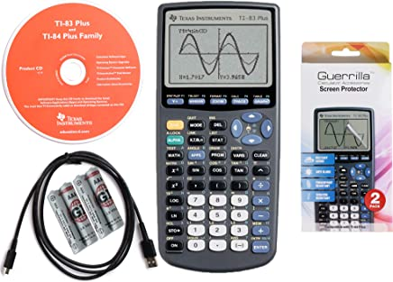 $69 » Texas Instruments TI 83 Plus Graphing Calculator, with Guerrilla Military Grade Screen Protector Set, Certified Reconditioned