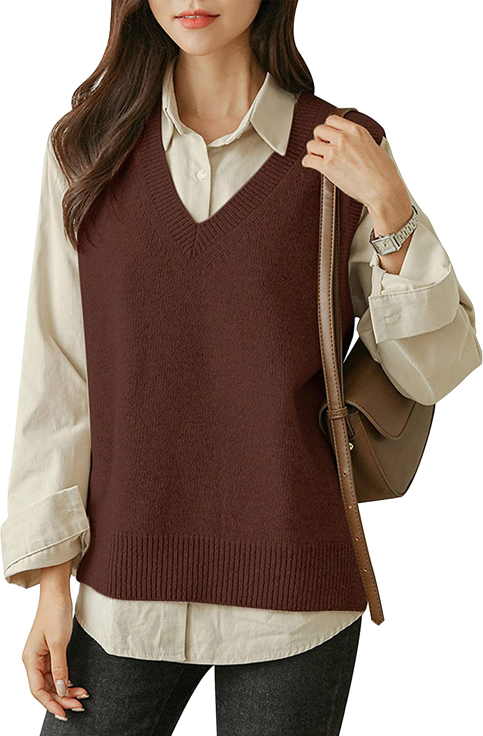 UANEO Womens Casual Cable Knit V Neck Sleeveless Pullovers Sweater Vests Overshirts (Brown-L)