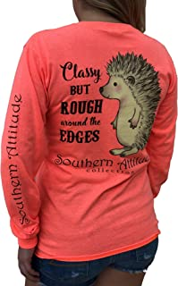 Hedgehog Classy But Rough Around The Edges Heather Coral Long Sleeve Women's Shirt