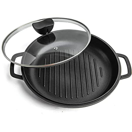 Griddle Pan with Lid NonStick - Die Cast Aluminium Induction Hob Skillet with Glass Lid – Ideal for Grilling, Oven Friendly – Grill Steak and Veggies - 2.33L 28cm Wonder Pan by Nuovva