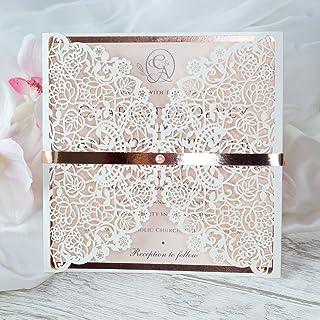 50 CARTE CONFEZIONE Bianco partecipazioni matrimonio taglio laser fai da te inviti matrimonio carta con busta
