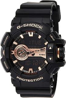 """ساعة للرجال من """"كاسيو"""" موديل """"جي شوك"""" بمينا لون اسود، انالوج بعقارب ورقمية، بسوار من البلاستيك المطاطي - GA-400GB-1A4DR"""