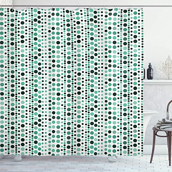 Ambesonne Modern Shower Curtain Retro 60s 70s Vintage Geometrical Circles Dots Points Ombre Image Cloth Fabric Bathroom Decor Set With Hooks 70 Long Hunter Green Turquoise Home Kitchen Amazon Com