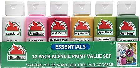 Apple Barrel Acrylic Paint 12 Essential Colors Matte Finish Craft, Multi-Colour, 2 oz