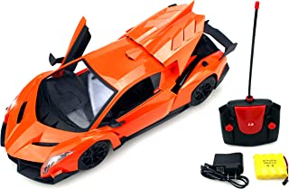 Luxury Sport Racer Remote Control RC Sports Car 1:14 Scale Size Rechargeable Ready to Run w/ LED Headlights, Opening Doors (Colors May Vary)