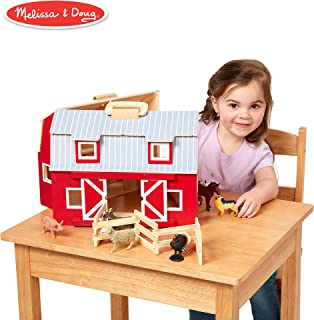 "Melissa & Doug Wooden Fold & Go Barn, Animal & People Play Set, Promotes Imaginative Play, 7 Animal Play Figures, 11.25"" H x 13.5"" W x 4.7"" L"