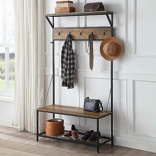 lowest BELLEZE wholesale 70 Inch Industrial Bench Hall Tree outlet sale Entryway Storage Shelf Coat Rack, Rustic Oak online sale