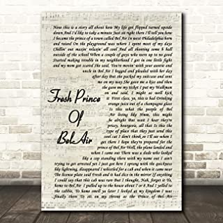 Fresh Prince of Bel-Air Vintage Script Song Lyric Gift Present Poster Print