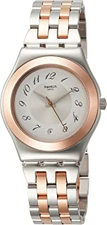 Swatch Women's White Dial Stainless Steel Band Watch - YLS454G