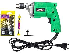 KHADIJA Powerful Simple Electric Drill Machine 10mm With Free 13Pcs HSS Drill Bits & 1Pc Masonary Bit Combo