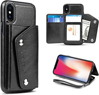 WenBelle Slim Wallet Case for iPhone Xs (2018) / iPhone X (2017),Leather Case with Credit Card Holder Slot & Combination,Durable Shockproof Protective Case 5.8 inch(Black)