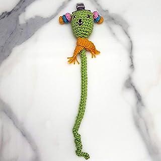 Ranimar Green Crochet Pacifier Chain Holder for Newborn Baby%100 Cotton