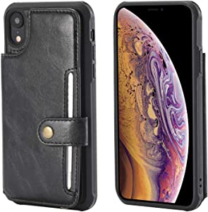 iPhone Case  Bear Village  Premium Leather Case with Card Slot and Wrist Strap  Shockproof Protective Back Cover for Apple iPhone XR  Black