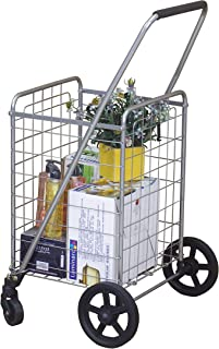 Wellmax WM99024S Grocery Utility Shopping Cart | Easily Collapsible and Portable to Save Space + Heavy Duty, Light Weight Trolley with Rolling Swivel Wheels (Renewed)
