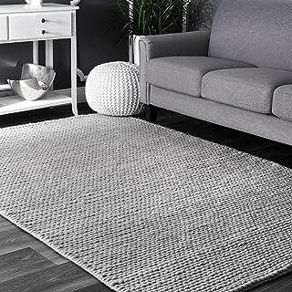 nuLOOM 200CB01D-609 Caryatid Handwoven Solid Wool Rug, 6` x 9`, Light Grey