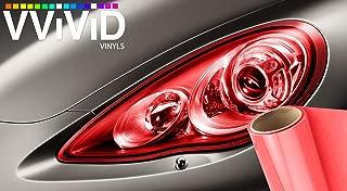 VViViD Red Gloss Vinyl Headlight Foglight Transparent Air Tint Wrap Self-Adhesive (17.9 Inch x 60 Inch Large roll)