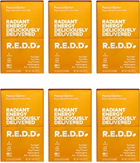 R.E.D.D. Vegan Protein Bar, Peanut Butter, 36 Bars, Healthy Snack with 10g Plant-Based Protein, Low Sugar, Gluten-Free, Da...