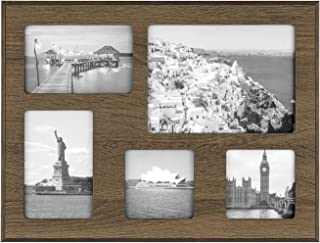 ONE WALL 12x16 Inch Multi Collage Picture Frame 5-Opening Brown Wood Frame for Multiple Photos Display Two 4x6 & Two 4x4 & One 6x8 Photos - Wall Mounting Hardware Included