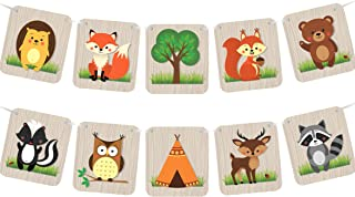 Woodland Animals Banner - Baby Shower Nursery Decorations Supplies or Camping Birthday Party - Forest Creatures (LARGE)