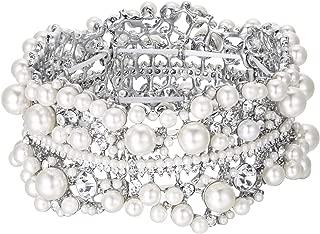 Austrian Crystal Simulated Pearl Bridal Flower Stretch Bracelet Clear Silver-Tone