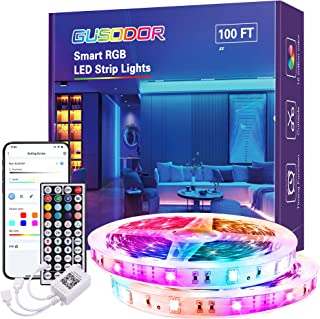 Gusodor Led Strip Lights 100 Feet Led Lights Music Sync Smart Rope Lights Color Changing Timing with 44 Key Remote App Con...