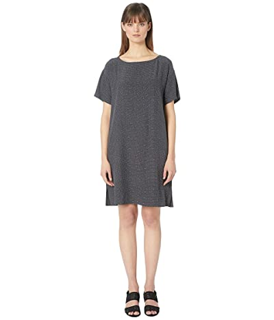 Eileen Fisher Morse Code Tencel Viscose Bateau Neck Short Sleeve Knee Length Dress (Graphite) Women