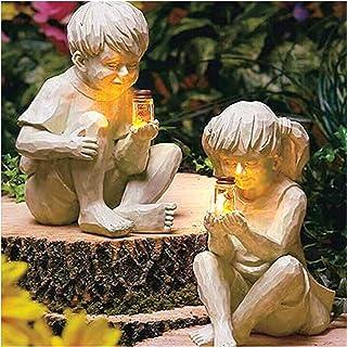 Enfants avec des lucioles Fille et garçon, Jardin créatif Enfants Pot de luciole éclairé Solaire garçon Fille Statue Cour ...