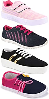 Camfoot Women's (9031-1044-5026-11028) Multicolor Casual Sports Running Shoes (Set of 4 Pair)