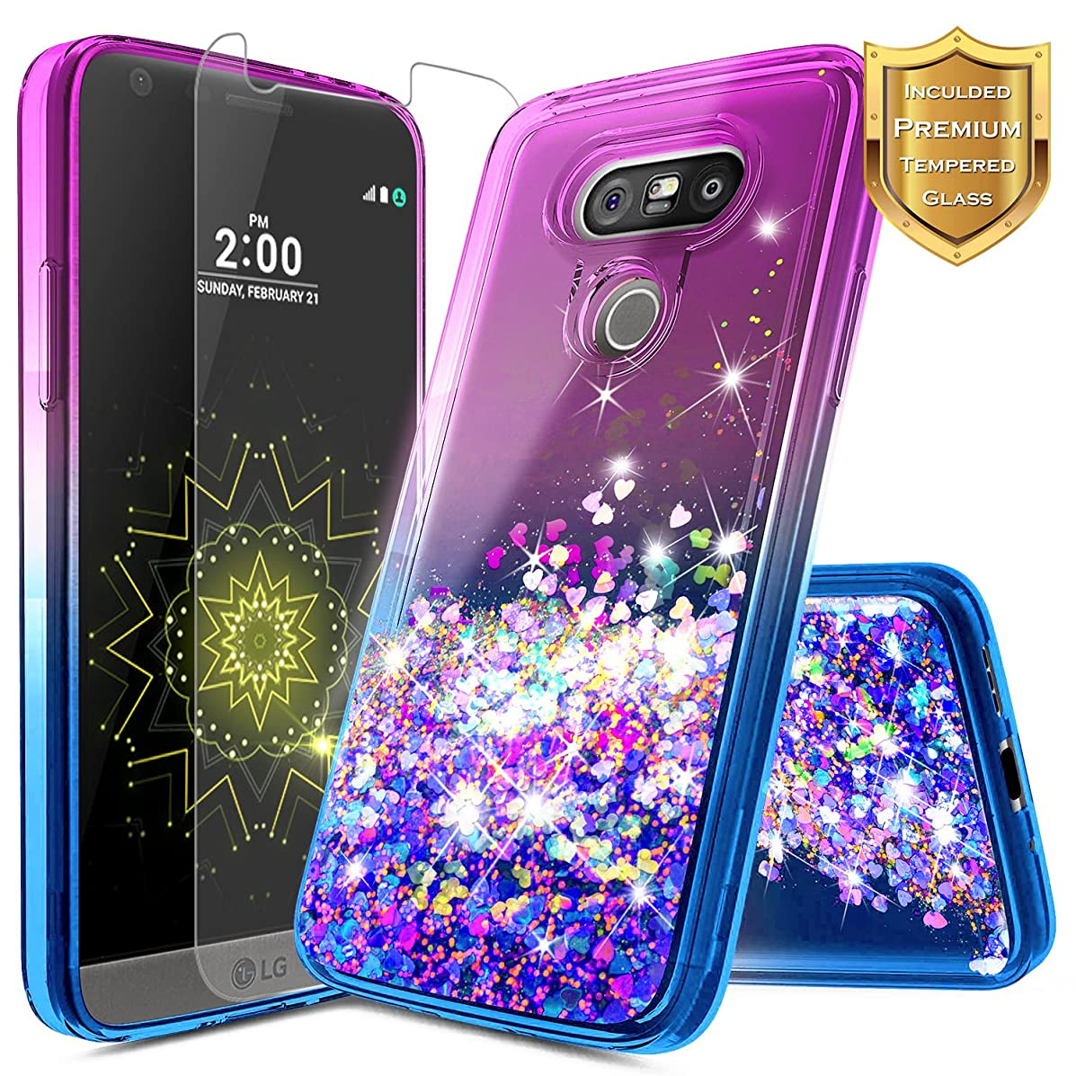LG G5 Case with Tempered Glass Screen Protector for Girls Women Kids, NageBee Glitter Liquid Sparkle Bling Floating Waterfall Shockproof Cute Case for LG G5 -Purple/Blue