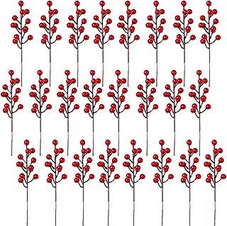 SLDHFE Lot de 24 tiges de baies rouges artificielles de 20 cm de diamètre pour décoration de mariage, maison et fête