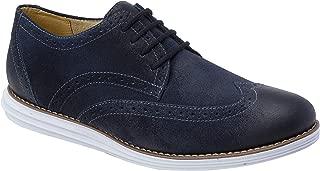 Sandro Moscoloni Aldo Oxford Dress Shoes | Men's Formal & Modern Wear | Dapper Wing Tip (Navy Suede, 11.5)