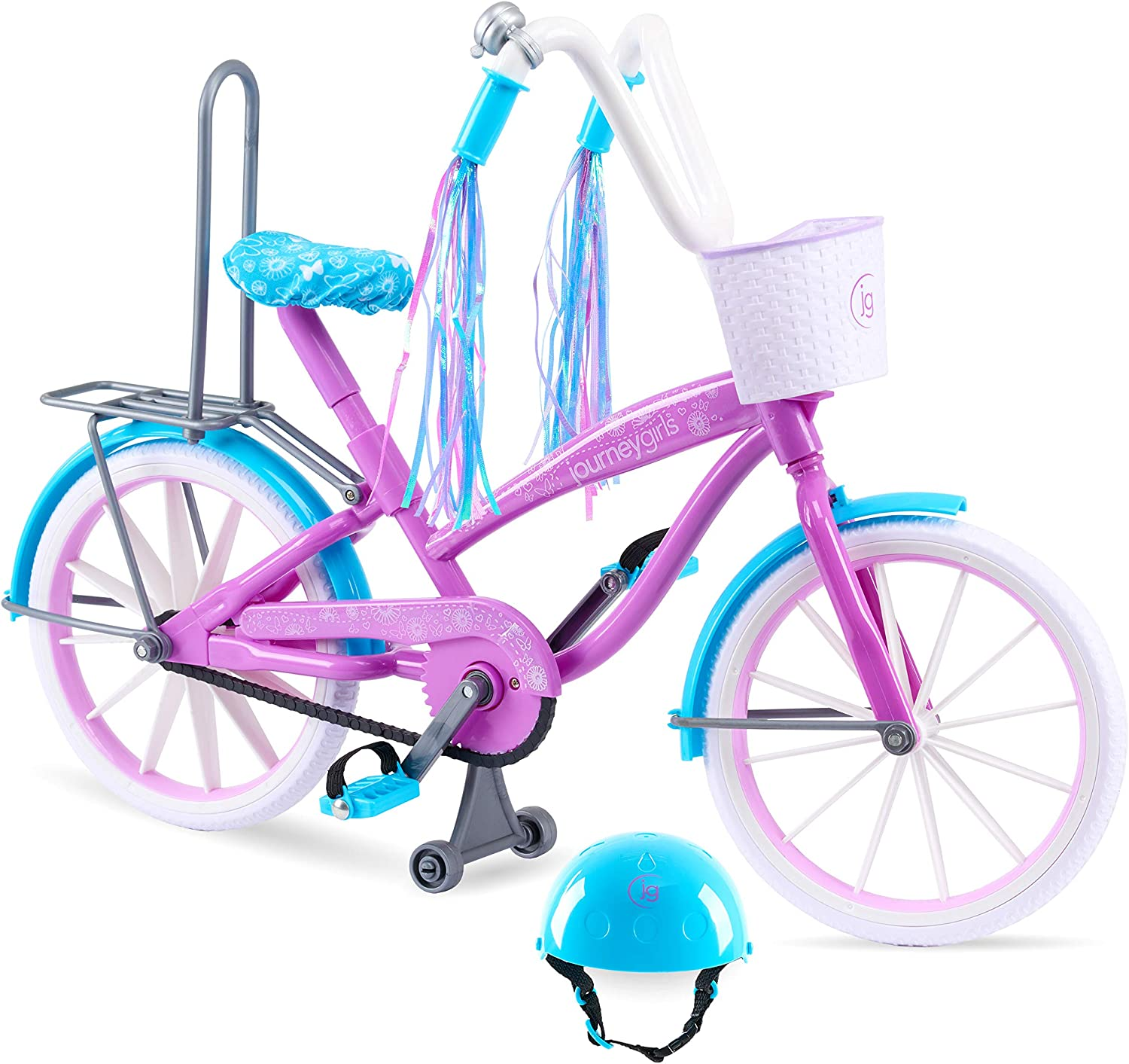 18 in Doll: Journey Girls Bike with Helmet, Streamers, Basket, and Wheels that Roll! .99 at Woot!