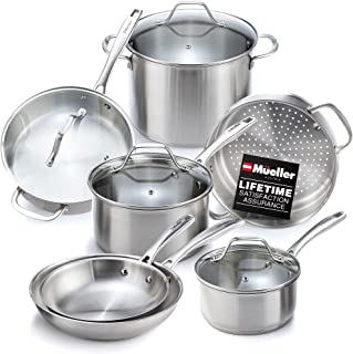 Mueller Pots and Pans Set 11-Piece, Ultra-Clad Pro Stainless Steel Cookware Set, Ergonomic and EverCool Stainless Steel Ha...